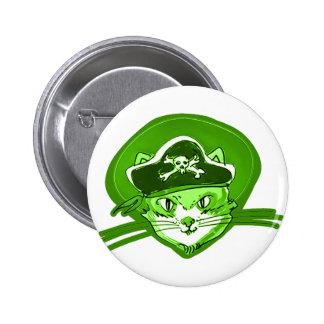 estilo del dibujo animado del gato del pirata pin redondo de 2 pulgadas