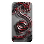 Estilo del dragón rojo iPhone 4 carcasas