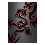 Estilo del dragón rojo póster