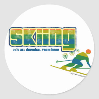Estilo del esquí del vintage pegatinas redondas