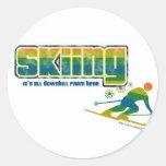 Estilo del esquí del vintage pegatina redonda