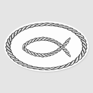 Estilo del euro de Ichthus de la cuerda Pegatinas De Óval
