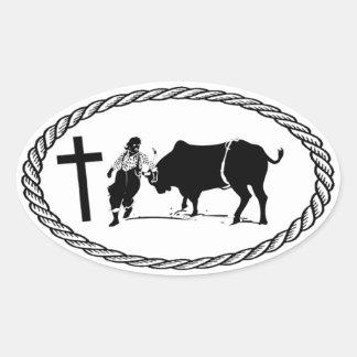 Estilo del euro de la cruz del payaso del rodeo calcomanías óvales personalizadas
