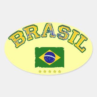 Estilo del fútbol de la bandera del Brasil Calcomanía De Oval Personalizadas