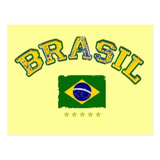 Estilo del fútbol de la bandera del Brasil Postal