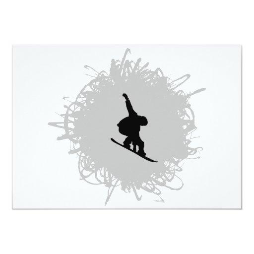 Estilo del garabato de la snowboard invitación 12,7 x 17,8 cm