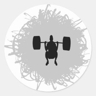Estilo del garabato del levantamiento de pesas etiquetas redondas