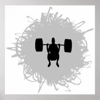 Estilo del garabato del levantamiento de pesas póster