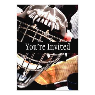 """Estilo del Grunge del engranaje del hockey Invitación 5"""" X 7"""""""