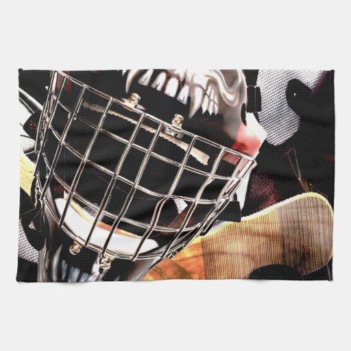 Estilo del Grunge del engranaje del hockey Toallas De Cocina