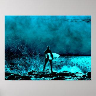 Estilo del Grunge del verano que practica surf Poster