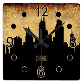 Estilo del Grunge del vintage del horizonte el | Reloj Cuadrado