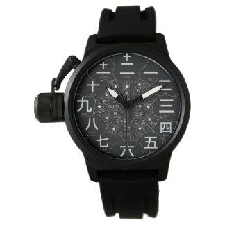Estilo del kanji MANGA de Japón [cara negra 3] Reloj