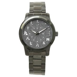 Estilo del kanji MANGA de Japón [cara negra 4] Reloj