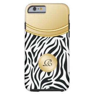 Estilo del monograma del oro de la cebra funda de iPhone 6 tough