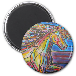 ¡Estilo del mosaico/del vitral del arte del caball Imán Redondo 5 Cm