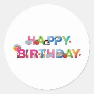 estilo del niño joven del feliz cumpleaños etiquetas redondas