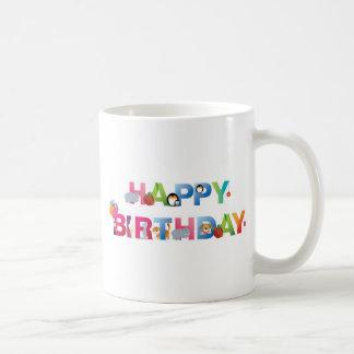 estilo del niño joven del feliz cumpleaños tazas de café