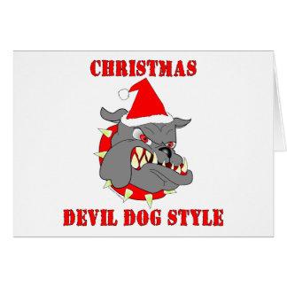 Estilo del perro de diablo del navidad del Cuerpo  Tarjeta De Felicitación