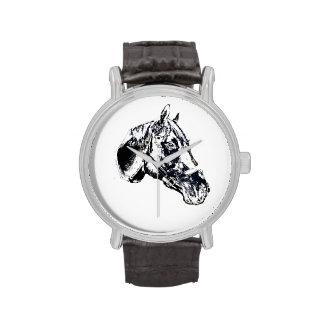estilo del sello de la cabeza de caballo reloj