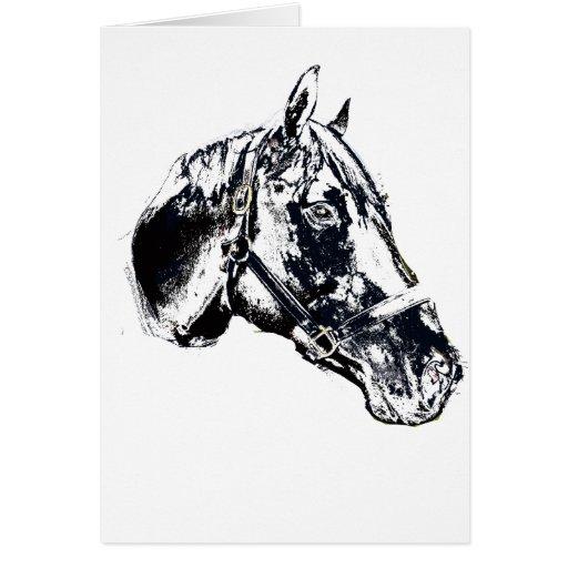 estilo del sello de la cabeza de caballo tarjeta de felicitación