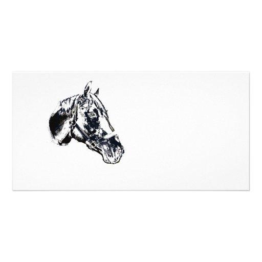 estilo del sello de la cabeza de caballo tarjetas personales