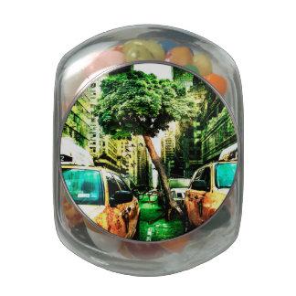 Estilo del taxi con viejo diseño jarrones de cristal