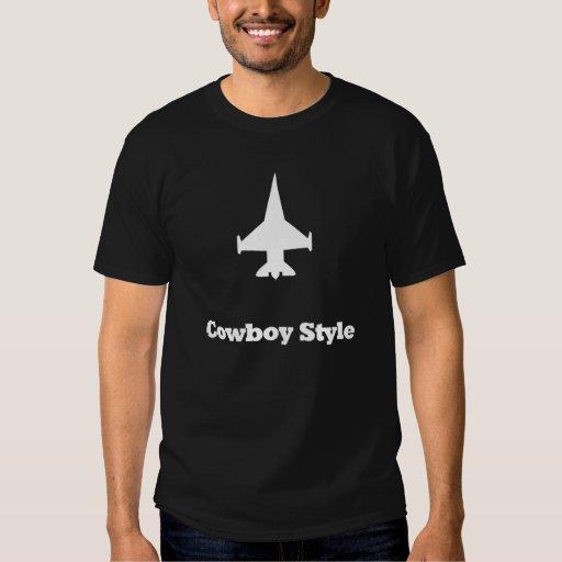 Estilo del vaquero del avión de combate remeras