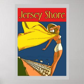Estilo del vintage de la orilla del jersey póster