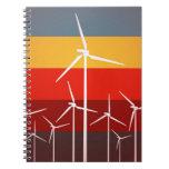 Estilo del vintage de las turbinas de viento cuadernos