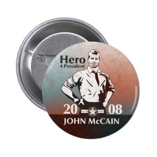 Estilo del vintage de McCain, héroe Pin Redondo De 2 Pulgadas