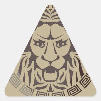 Estilo del vintage del logotipo del león pegatina triangular