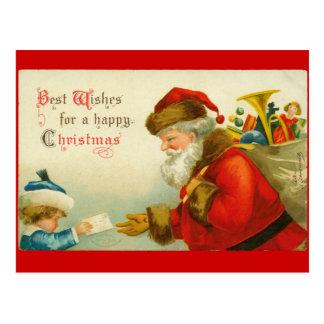 Estilo del vintage del navidad de Papá Noel Postales