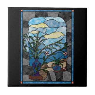 Estilo del vitral del vintage de la planta del flo tejas