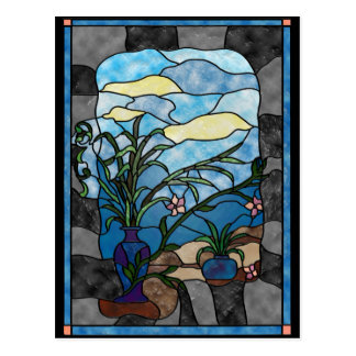Estilo del vitral del vintage de la planta del flo tarjetas postales