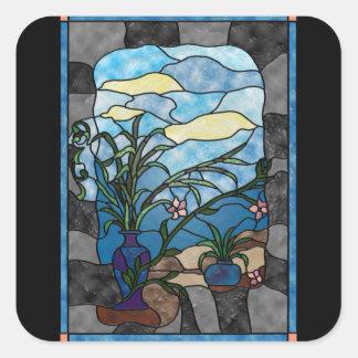 Estilo del vitral del vintage de la planta del pegatina cuadrada