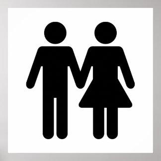 Estilo del WC de los pares - negro Póster