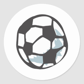 Estilo dibujado del balón de fútbol a disposición pegatinas redondas