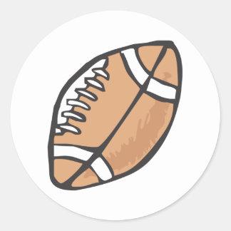 Estilo dibujado del fútbol a disposición pegatina redonda