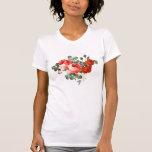 Estilo dibujado mano de los rosas rojos del vintag camiseta