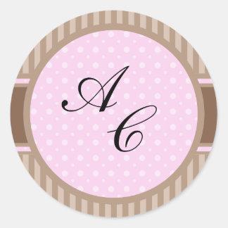 Estilo elegante 2 (añada sus iniciales) pegatina redonda