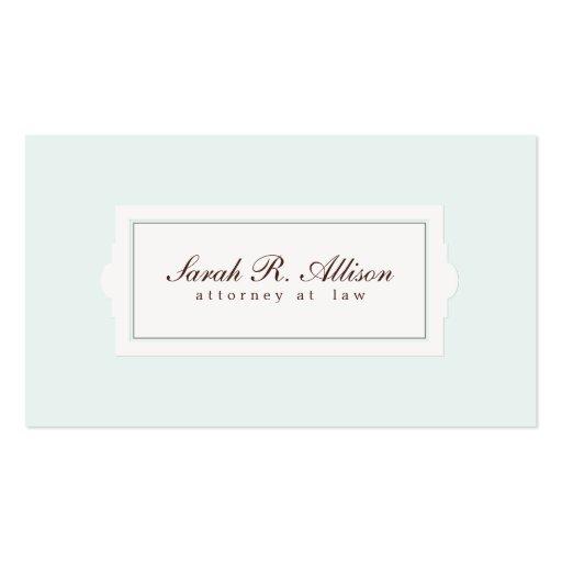 Estilo elegante de la placa del abogado azul claro tarjetas de visita