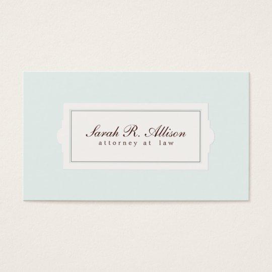 Estilo elegante de la placa del abogado azul claro tarjeta de negocios