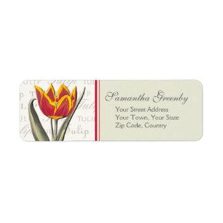 Estilo elegante del vintage del amante del tulipán etiqueta de remite