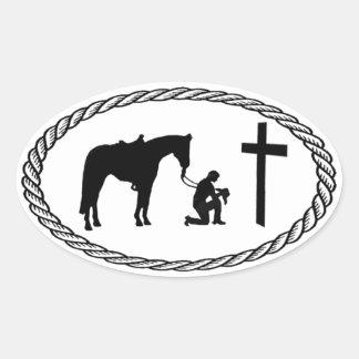 Estilo euro cruzado de rogación del vaquero colcomanias de óval personalizadas