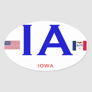 Estilo europeo OvalSticker de Iowa* Pegatina Ovalada