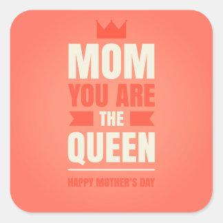 Estilo feliz de la reina del día de madre pegatinas cuadradases