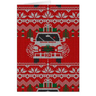 Estilo feo sospechado rojo del suéter del tarjeta de felicitación