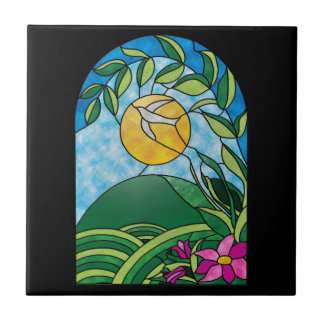 Estilo floral del vitral del vintage de la luz del tejas