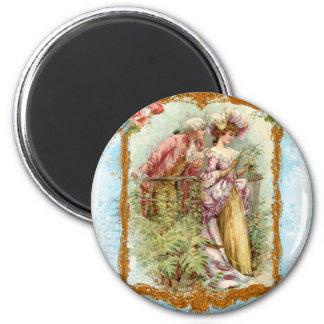 Estilo francés de la regencia de los pares románti imán redondo 5 cm
